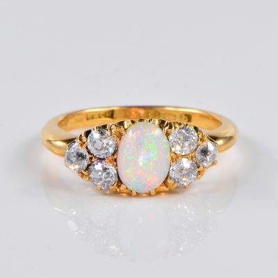 RARE VICTORIAN MIZPAH OPAL AND DIAMOND ENGLISH ENGAGEMENT RING!