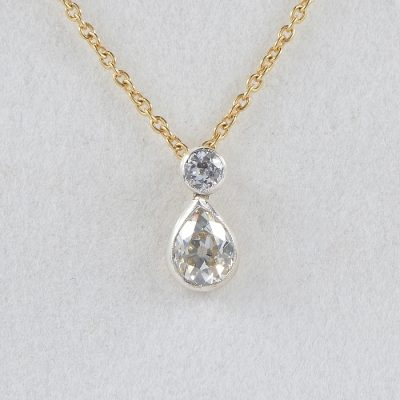 VICTORIAN 1.20 CT DIAMOND PLUS PEAR SHAPED DROP NECKLACE!
