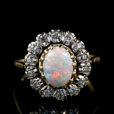 AUTHENTIC ART DECO 1.60 CT HARLEQUIN OPAN .70 CT DIAMOND RING!