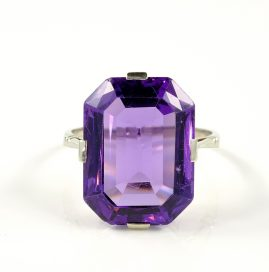 AUTHENTIC ART DECO 17.50 CT NATURAL AMETHYST SOLITAIRE RING!