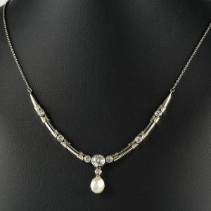 ART DECO  1.45 CT DIAMOND NATURAL PEARL STUNNING STUNNING NECKLACE!