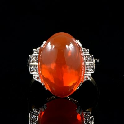RARE ART DECO 10.0 CT FIRE OPAL DIAMOND SOLITAIRE RING!
