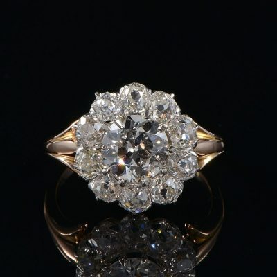 AUTHENTIC EDWARDIAN 3.90 CT DIAMOND RARE CLUSTER RING!