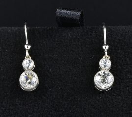Art Deco 1.70 Ct G VVS diamond swing drop earrings