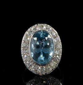 AUTHENTIC ART DECO 12 CT AQUAMARINE 4.50 CT DIAMOND HALO PLATINUM RING!