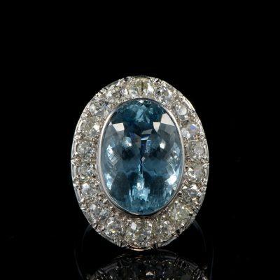 AUTHENTIC ART DECO 12 CT AQUAMARINE 4.50 CT DIAMOND HALO PLATINUM RING!