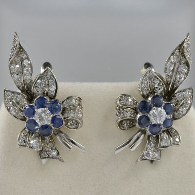 ART DECO 2.10 CT DIAMOND 1.80 NATURAL SAPPHIRE PLATINUM SPRAY EARRINGS!