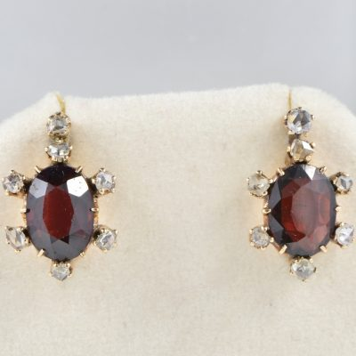 VICTORIAN 4.40 CT NATURAL  VIVID RED ALMANDINE GARNET ROSE CUT DIAMOND UNIQUE EARRINGS!