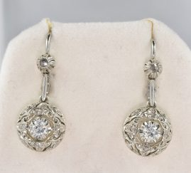 EDWARDIAN DIAMOND FILIGREE RARE DROP EARRINGS!