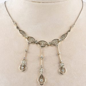EDWARDIAN SWEET DIAMOND NEGLIGE NECKLACE!