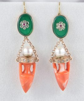 ETRUSCAN REVIVAL URN CORAL PEARL DIAMOND JADE PASTE SWING EARRINGS!