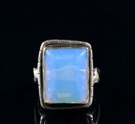 ANTIQUE ARTS AND CRAFT GIGANTIC MOONSTONE SILVER RARE RING