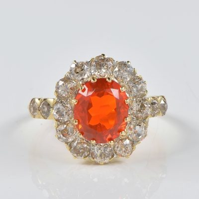 SPECTACULAR VICTORIAN FIRE OPAL DIAMOND RARE RING 1870 CA!