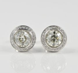 MAGNIFICENT ART DECO 3.20 CT DIAMOND HALO STUDS
