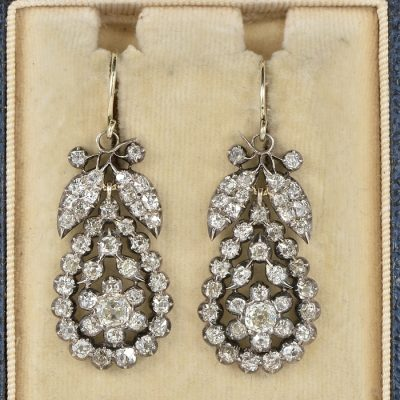 SPECTACULAR  GEORGIAN 6.90 CT OLD MINE CUT DIAMOND EARRINGS