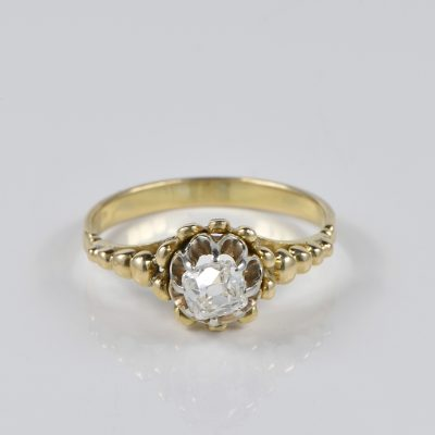 VICTORIAN .55 CT OLD MINE CUT DIAMOND RARE RING!