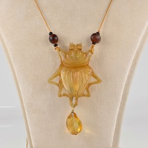 ART NOUVEAU CARVED HORN CICADA NECKLACE!