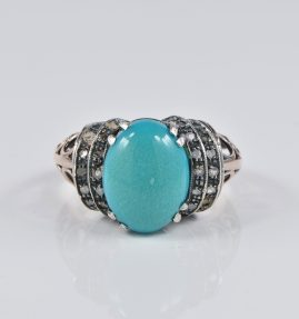ART DECO NATURAL PERSIAN TURQUOISE DIAMOND 6KT RARE ANTIQUE RING!