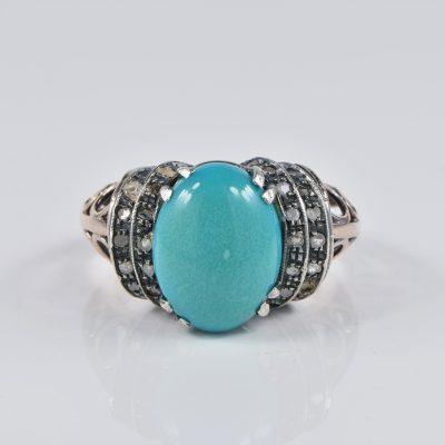 ART DECO NATURAL PERSIAN TURQUOISE DIAMOND 6KT RARE ANTIQUE RING!