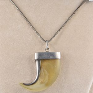 VICTORIAN TIGER CLAW TROPHY SILVER NECKLACE!
