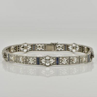 EWDARDIAN NATURAL PEARL SAPPHIRE DIAMOND RARE LACE WORK BRACELET 1900 CA!