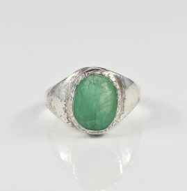 VICTORIAN 4.80 CT NATURAL EMERALD RARE SILVER SIGNET RING!