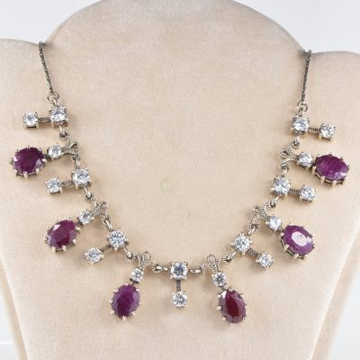FABULOUS ANTIQUE SOLID SILVER RUBY AND CLEAR STONES RARE NECKLACE!