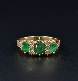 VICTORIAN 2.60 CT EMERALD ROSE CUT DIAMOND TRILOGY RING!