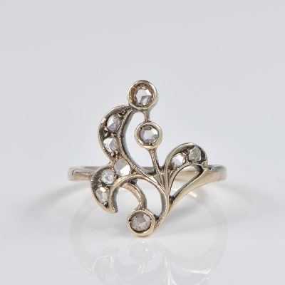 ART NOUVEAU .60 CT ROSE CUT DIAMOND FLOWER RING!