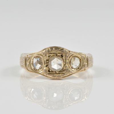 STUNNING EDWARDIAN ROSE CUT DIAMOND TRILOGY RING 1900 CA!
