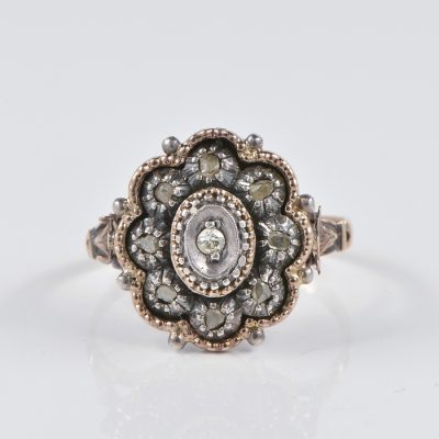 AUTHENTIC FINE OVAL FLOWER GEORGIAN DIAMOND RING 1790 CA !