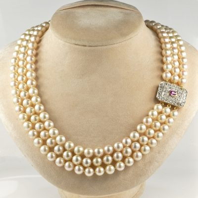 LATE ART DECO THREE STRAND AKOYA PEARL RUBY AND DIAMOND CLASP!