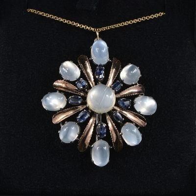 ARTS & CRAFTS 16.00 CT NATURAL MOONSTONE SAPPHIRE LARGE PENDANT BROOCH!