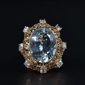 STUNNING EDWARDIAN 9.30 CT AQUAMARINE 1.50 CT DIAMOND RARE RING!