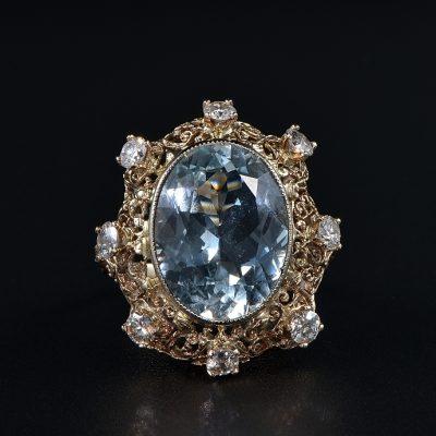 STUNNING EDWARDIAN 9.30 CT AQUAMARINE 1.50 CT DIAMOND RARE RING!