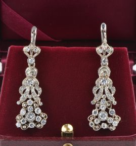 STUNNING ANTIQUE 2.40 CT DIAMOND FLOWER DROP EARRINGS!
