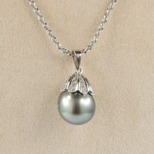 STUNNING AUTHENTIC TAHITIAN PEARL SOLITAIRE  .55 CT DIAMOND NECKLACE!