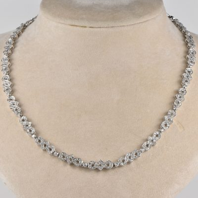 OUTSTANDING ART DECO 7.90 CT DIAMOND RARE NECKLACE 1935 CA!