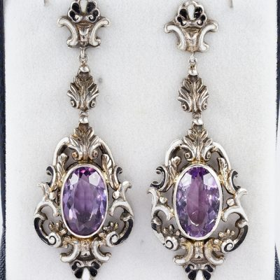 GEORGIAN ENAMEL AMETHYST ROCOCO SILVER GOLD LONG EARRINGS!