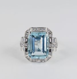 STUNNING ART DECO AQUAMARINE DIAMOND SIMULANT JUMBO RING!
