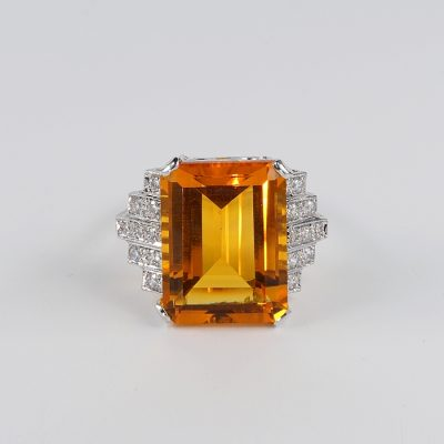 STUNNING ART DECO MADEIRA CITRINE DIAMOND SIMULANT UNIQUE RING!