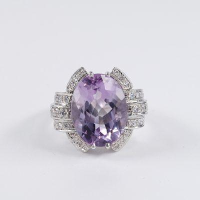 STUNNING ART DECO MORGANITE DIAMOND SIMULANT UNIQUE RING!