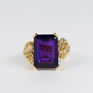 Stunning Retro Style 16.0 Amethyst Diamond Paste 18 KT on Silver Rare Ring