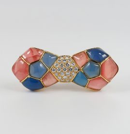 FRENCH VAN CLEEF & ARPLES MOSAIC DIAMOND BOW BROOCH!