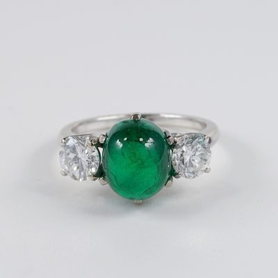 ART DECO CERTIFIED 4.1 CT COLOMBIAN EMERALD 1.40 CT TOP WHITE FLAWLESS DIAMONDS TRILOGY RING!