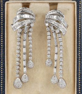 MAGNIFICENT VINTAGE 6.0 CT DIAMOND 18 KT TASSEL EARRINGS!