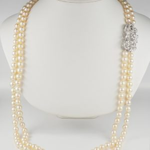SPECTACULAR MID CENTURY DOUBLE STRAND PEARL NECKLACE DIAMOND BROOCH CLASP!