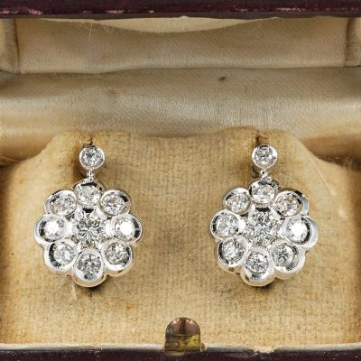 STUNNING LATE ART DECO 2.20 CT G VVS DIAMOND RARE CLUSTER EARRINGS!