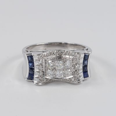 STUNNING LATE ART DECO DIAMOND SAPPHIRE RARE BUCKLE RING!