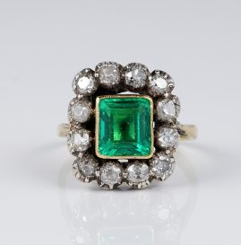 STUNNING GEORGIAN 2.40 CT COLOMBIAN EMERALD 1.80 CT DIAMOND RING 1790 CA!